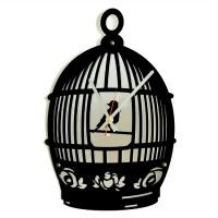"""Декоративные часы  зеркало """"Открытая клетка"""""""