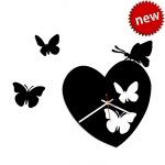 """Декоративные часы """"Сердечные бабочки"""""""